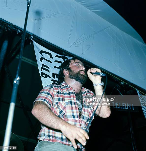 Italian singer songwriter and musician Lucio Dalla performing at the Piper Club Rome 1967