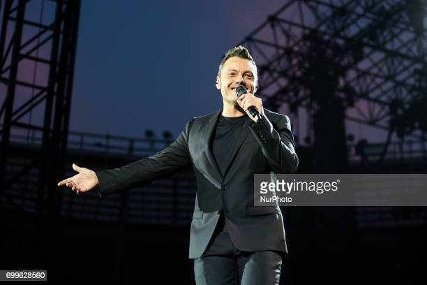 Italian singer Tiziano Ferro performed live at the Olympic Stadium with his quotIl mestiere della vita tourquot in Turin Italy on June 22 2017 A...