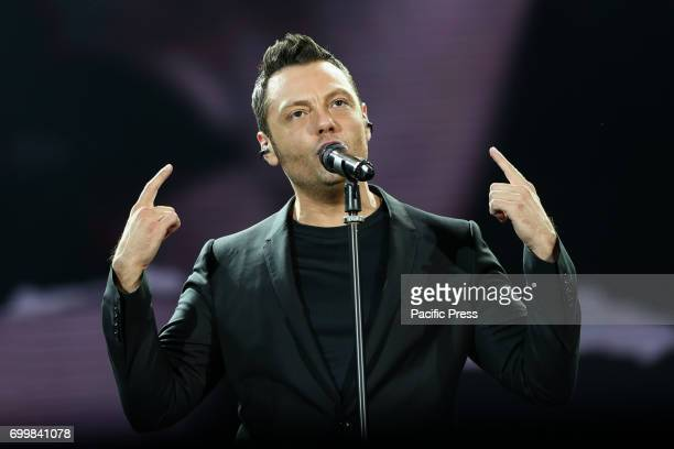 Italian singer Tiziano Ferro performed live at the Olympic Stadium with his 'Il mestiere della vita tour' A concert show full of energy lights heat...