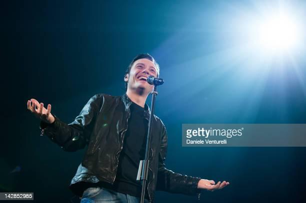Italian singer Tiziano Ferro Performs In Bologna on April 13 2012 in Bologna Italy