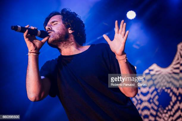 Italian singer Tommaso Paradiso and his group TheGiornalisti perform in concert at Fabrique Music Club on March 25 2017 in Milan Italy