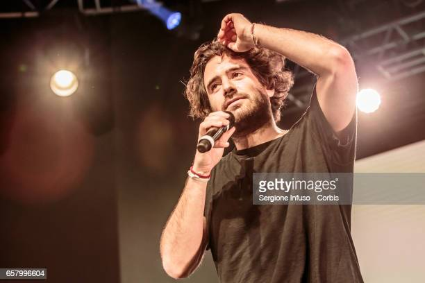 Italian singer Tommaso Paradiso of Italian rock band Thegiornalisti performs on stage for CocaCola OnStage Awards on March 25 2017 in Milan Italy