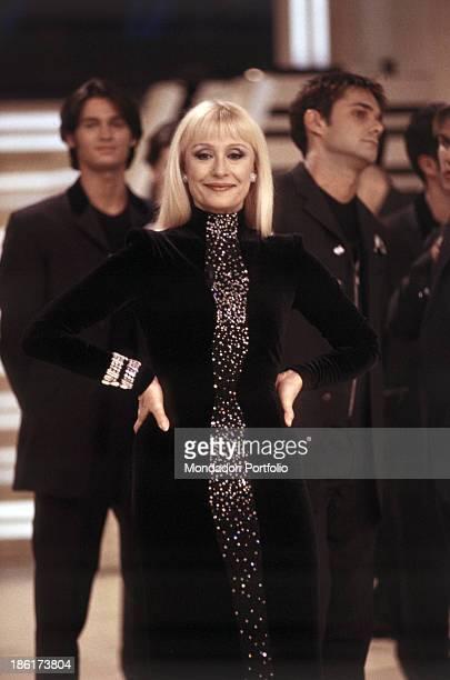 Italian singer TV host showgirl and dancer Raffaella Carrà presenting the TV show Carramba che fortuna Italy 1998