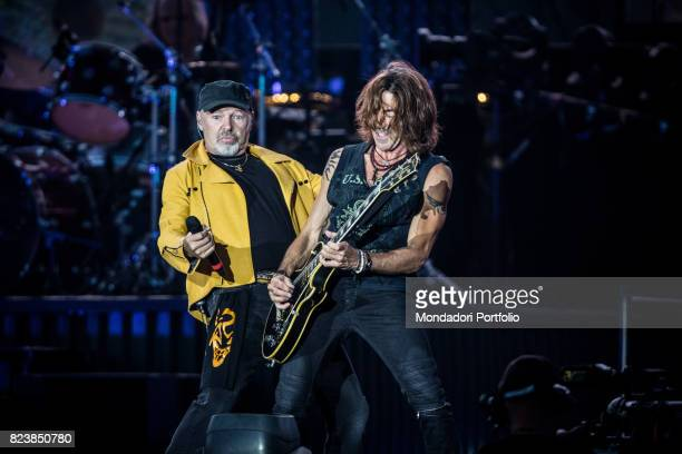 Italian singer Vasco Rossi and guitarist Stef Burns performs during the record concert at Enzo Ferrari Park where 220000 people attends Modenda July...