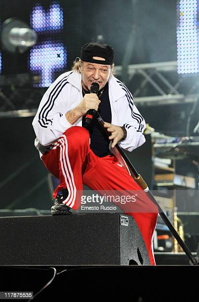 Italian singer Vasco Rossi performs during the 'Vasco Live Kom' tour at Stadio Olimpico on July 1 2011 in Rome Italy