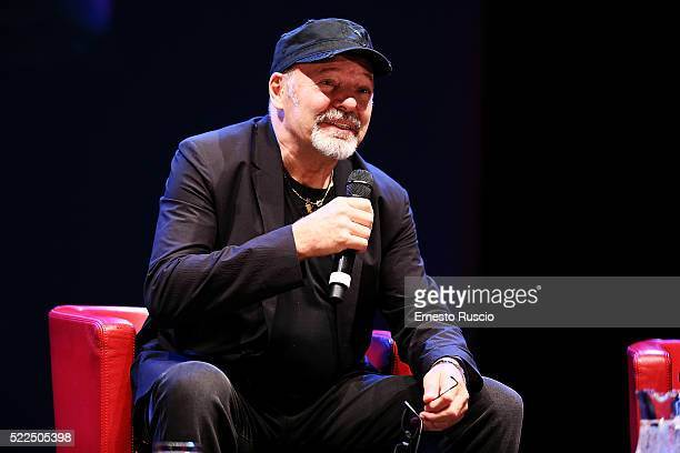 Italian singer Vasco Rossi speaks during 'Incontri D'Autore' at Auditorium Parco Della Musica on April 19 2016 in Rome Italy