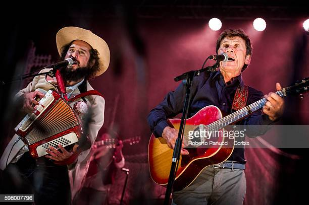 Italian singer Vinicio Capossela and Gianni Morandi performs in concert at Calitri Sponz Festival on august 27 2016 in Calitri Italy