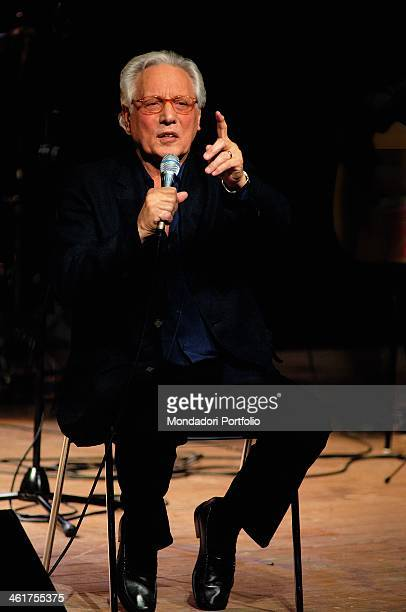 Italian singersongwriter actor and standup comedian Enzo Jannacci performing onstage the Condominio Theatre in Gallarate during the show The Best...