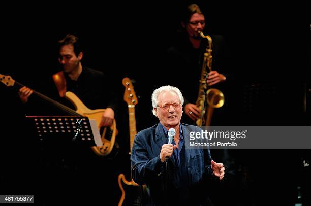 Italian singersongwriter actor and standup comedian Enzo Jannacci singing onstage the Condominio Theatre in Gallarate during the show The Best Tour...