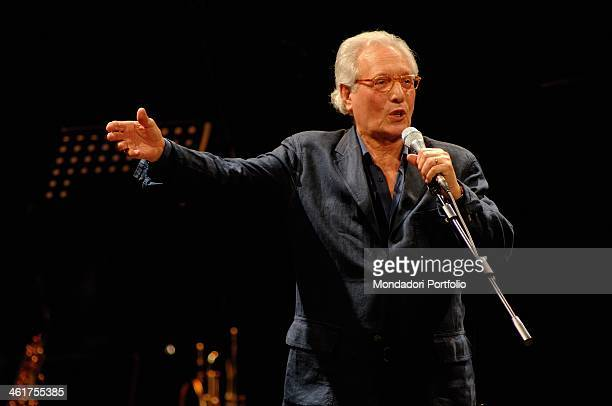 Italian singersongwriter actor and standup comedian Enzo Jannacci performs onstage at Condominio Theatre in Gallarate during the show The Best Tour...