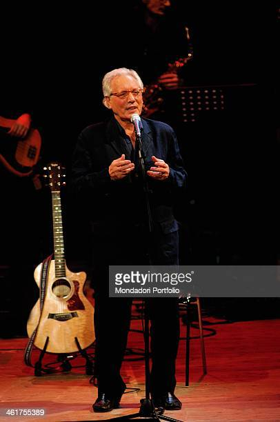 Italian singersongwriter actor and standup comedian Enzo Jannacci performs onstage the Condominio Theatre in Gallarate during the show The Best Tour...