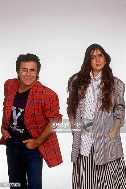 Italian singersongwriter Al Bano posing smiling with American singer and actress Romina Power 1987