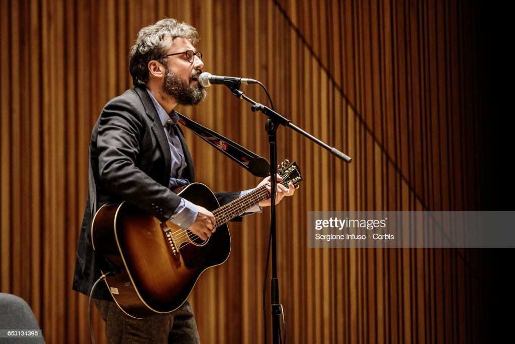 Italian singer-songwriter Brunori Sas, pseudonym of Dario Brunori, meets the students at Universita' Statale di Milano on March 13, 2017 in Milan, Italy.