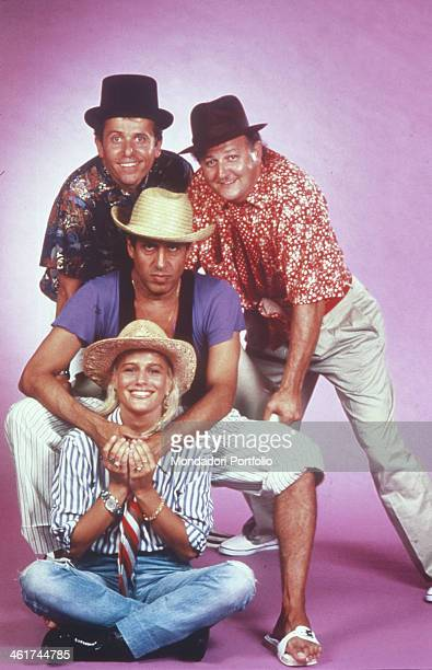 Italian singersongwriter dancer showman and actor Adriano Celentano Italian actors Maurizio Micheli and Massimo Boldi and American dancer singer and...