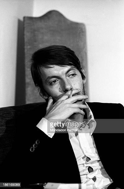 Italian singersongwriter Fabrizio De André smoking a cigarette Genoa December 1969
