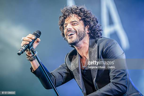 Italian singersongwriter Francesco Renga performs on stage on October 15 2016 in Milan Italy