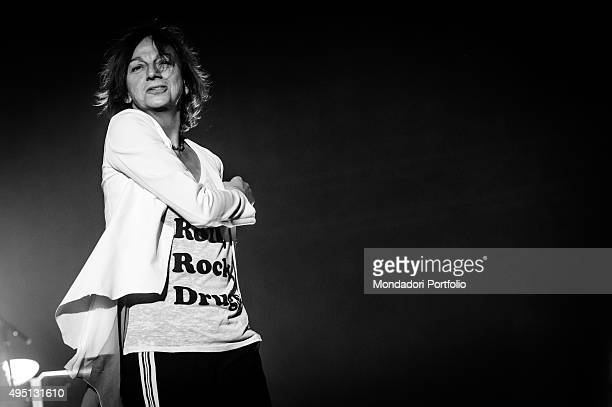 Italian singersongwriter Gianna Nannini seen from the side during the concert at Mediolanum Forum in Assago for her HITALIAROCKS Milan 15th May 2015