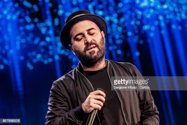 Italian singersongwriter Giuliano Sangiorgi of Italian pop band Negramaro performs on stage for CocaCola OnStage Awards on March 25 2017 in Milan...