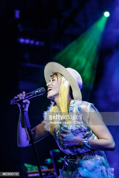 Italian singersongwriter Nina Zilli performs on stage on October 18 2017 in Milan Italy