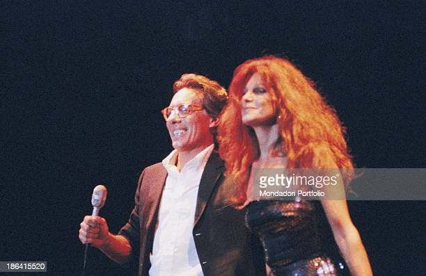 Italian singersongwriter standup comedian and actor Enzo Jannacci singing with Italian singer and actress Milva 6th December 1989