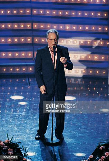 Italian singersongwriter standup comedian and actor Enzo Jannacci taking part in the 48th Sanremo Music Festival with the song Quando un musicista...