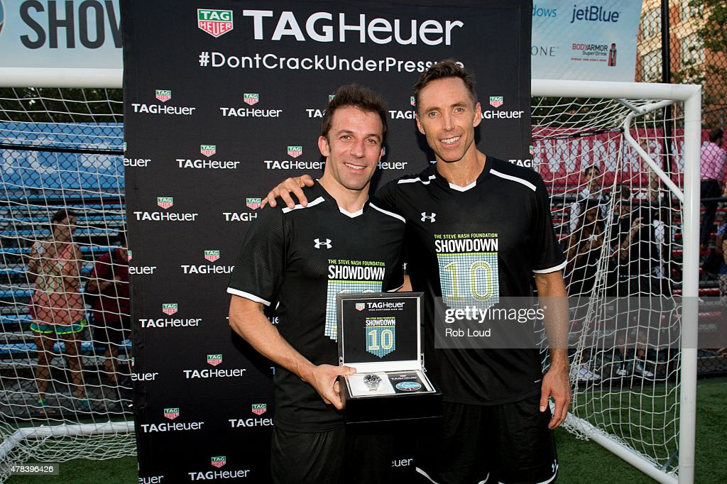 Italian soccer player Alessandro Del Piero and former NBA player Steve Nash pose with a Tag Heuer watch at Sara D Roosevelt Park on June 24 2015 in...