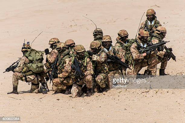 Italian soldiers during Centenary of antiaircraft artillery Sforzesca in Sabaudia on 13 April 2016 19152015 the antiaircraft Artillery Command has...