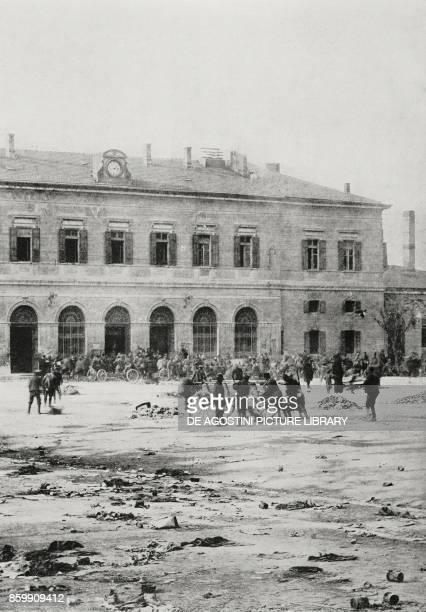 Italian soldiers in front of Trento station November 3 Italy World War I photo by Aurelio Pesce from l'Illustrazione Italiana Year XLV No 45 November...