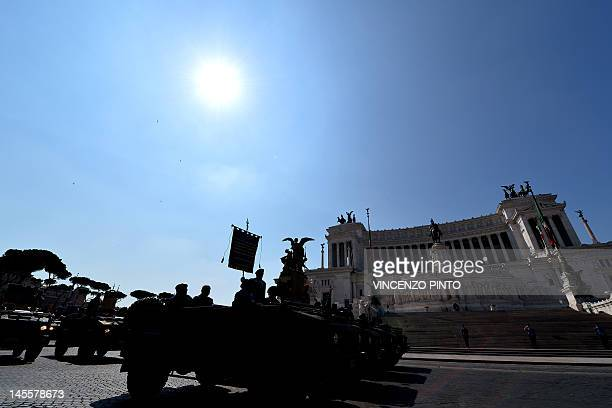 Italian soldiers march in front of the Altare della Patria during a military parade in Rome on June 2 2012 to mark the anniversary of the founding of...