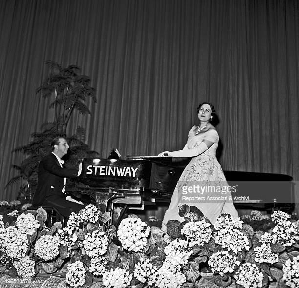 Italian soprano Renata Tebaldi performing in concert at teatro Sistina in Rome Rome