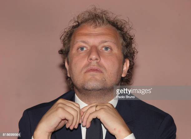 Italian Sport Minister Luca Lotti attends the press conference 'School And Football' on July 19 2017 in Rome Italy