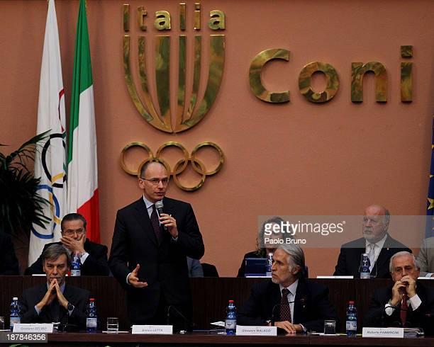 Italian Sports Minister Graziano Delrio Italian Prime Minister Enrico Letta CONI President Giovanni Malago' and CONI managing Roberto Fabbricini...