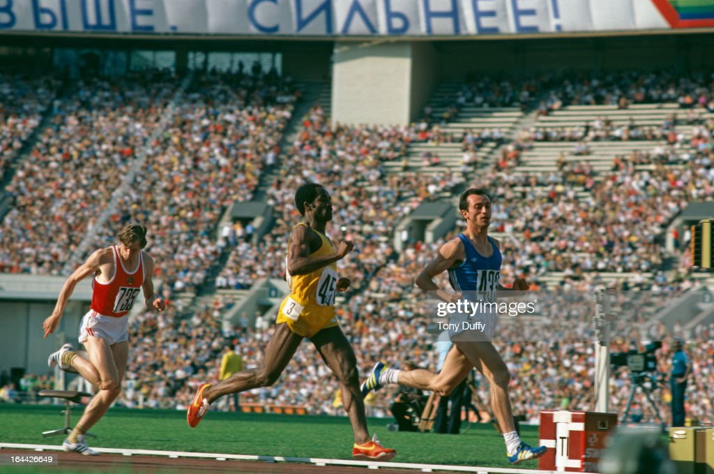 Italian sprinter Pietro Mennea (1952 - 2013) passes Jamaica's Don Quarrie in the semifinal of the 200 metres at the 1980 Olympics in Moscow.