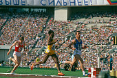 Italian sprinter Pietro Mennea passes Jamaica's Don Quarrie in the semifinal of the 200 metres at the 1980 Olympics in Moscow