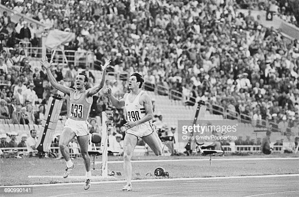 Italian sprinter Pietro Mennea raises his arms in the air as he crosses the finish line in first place to win the gold medal ahead of Allan Wells of...