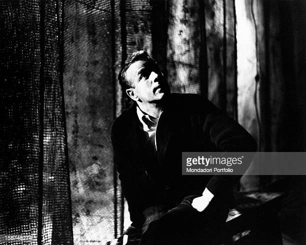 Italian stage director Franco Zeffirelli observes the set of the Eliseo Theatre upon the stage that's hosting a Hamlet play under his direction Rome...