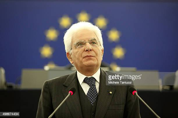 Italian state President Sergio Mattarella speaks in the plenary room of the European Parliament after the debate on the measures to fight terrorism...