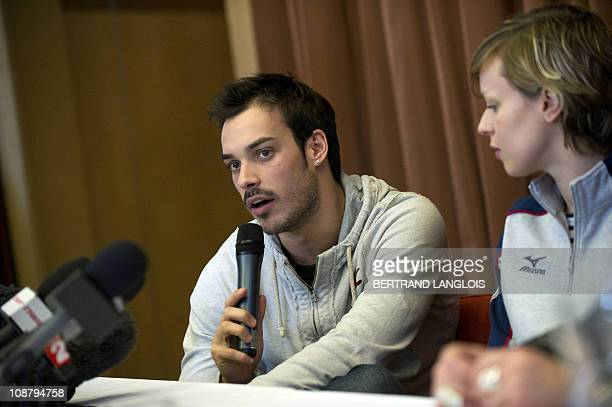Italian swimmers Federica Pellegrini and Luca Marin give a press conference following their first training session at the Lagardere training centre...