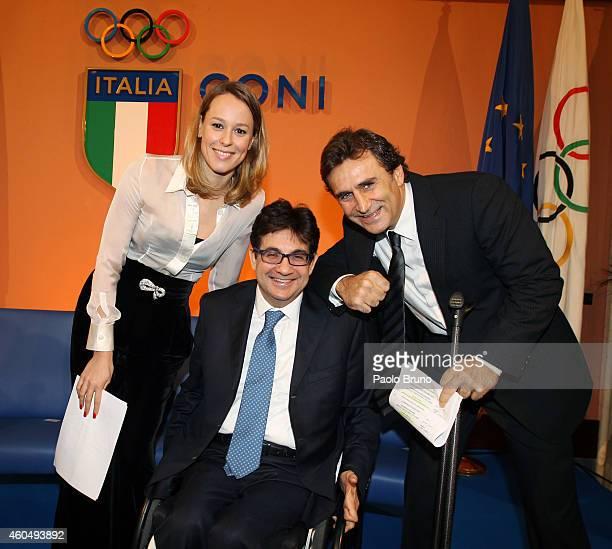 Italian swimming champion Federica Pellegrini Luca Pancalli President Paralympic Commitee and Alex Zanardi attend the ceremony to announce Rome's...