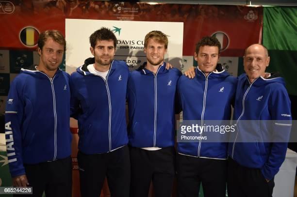 Italian team Lorenzi Seppi Giannessi Bolelli Capitaine Barazzutti pictured during the draw of Davis Cup World quarterfinal match between Belgium and...
