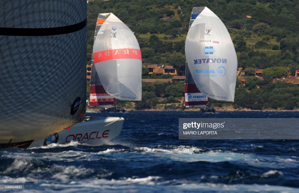 Italian Team Luna Rossa sail against Russian team Sinergy at the Louis Vuitton Trophy on May 24, 2010 at La Maddalena island in Sardinia. Ten teams battle it out over a two-week regatta begun on May 22 until June 6, 2010.