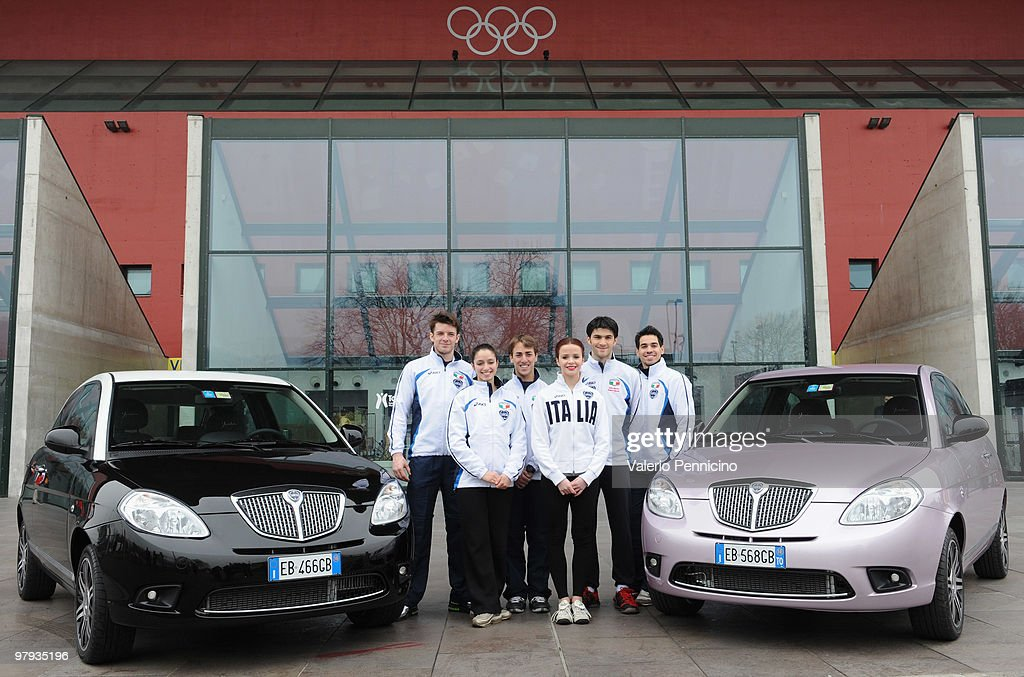Italian team members pose for a photocall during the ISU World Figure Skating Championships 2010 on March 22, 2010 in Turin, Italy.