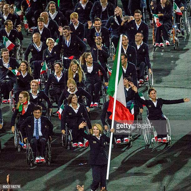 Italian team with Martina Caironi flag bearer during the Paralympic Games opening ceremony held in Rio de Janeiro Brasil on