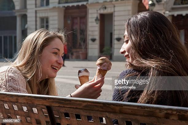 Italian teenage girls ride share ice cream