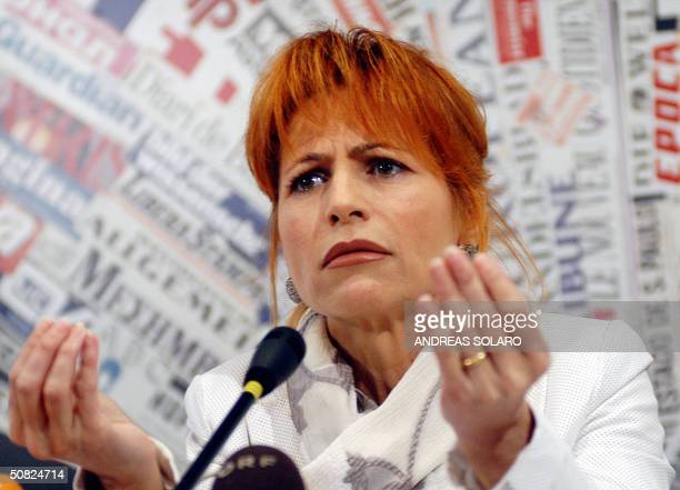 Italian television anchorwoman Lilli Gruber gestures during a press conference in Rome 11 May 2004 Gruber was the star presenter of the main...