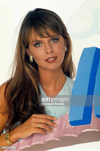 Italian television presenter Paola Perego posing in the studio of the TV broadcast Mezzogiorno in Famiglia Rome 1994