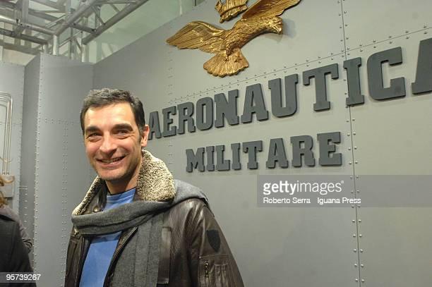 Italian television showman Tiberio Timperi at Areonautica Militare stand pose as testimonial at Pitti Immagine Uomo 77 at Fortezza da Basso on...