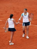 Italian tennis payers Robeta Vinci and Sara Errani play against Liezel Huber and Vania King of USA during the Fed Cup World Group double's Final...
