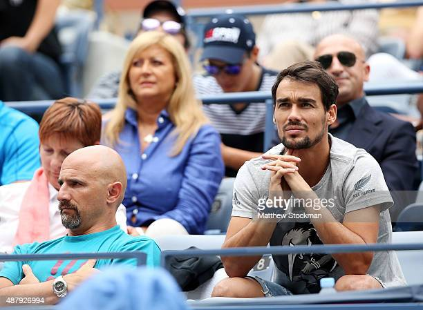 Italian tennis player Fabio Fognini attends the Women's Singles Final match between Roberta Vinci of Italy and Flavia Pennetta of Italy on Day...