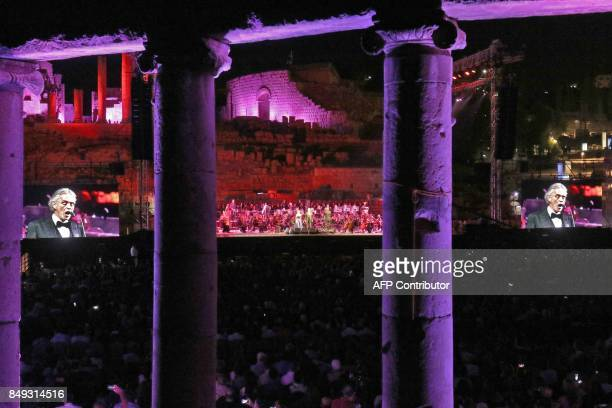 Italian tenor Andrea Bocelli performs during a concert at the archaeological site of Jerash some 50 kilometres north of the Jordanian capital on...
